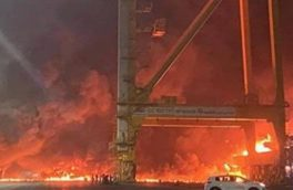انفجار در یک کشتی تجاری در بندر جبل علی در دبی